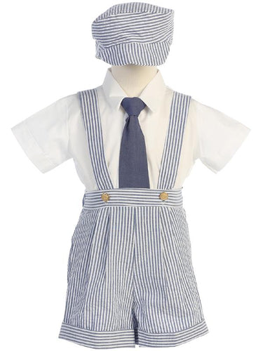 G822-L Seersucker Suspender Shorts & Hat Set