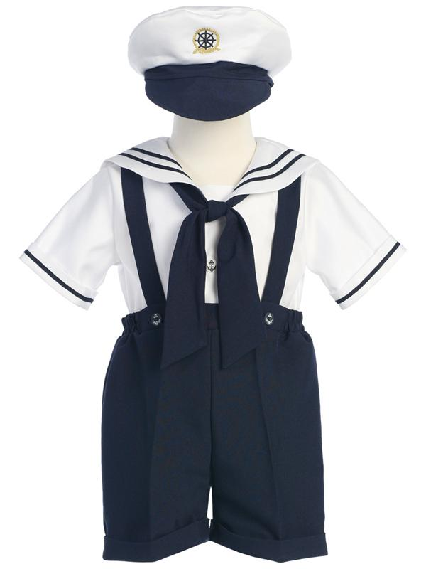 Style No. G830 - White & Navy Sailor Outfit with Hat