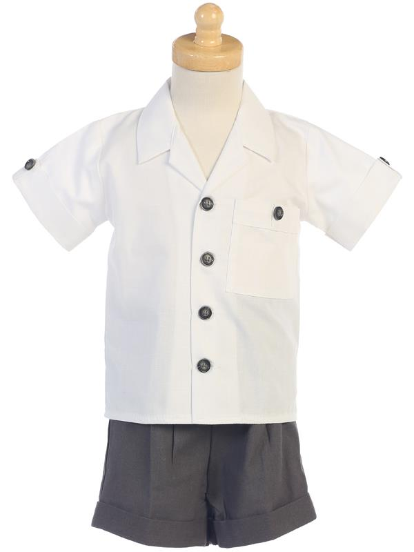 G833-L Poly Cotton Shirt & Linen Shorts Set