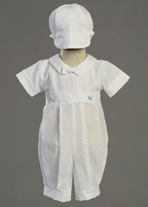 Raymond-LT Cotton Seersucker Christening Romper