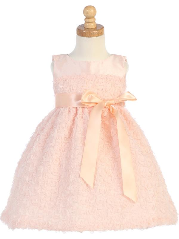 Style No. M685 - Peach Tulle with Chiffon Flowers & Ribbon Waistband Dress