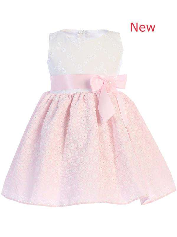 Style No. M736 - Embroidered Cotton Dress with Pink Bow