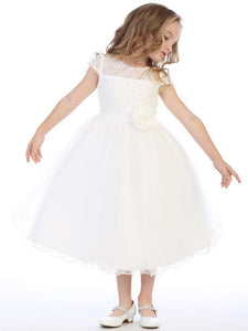 BL306 Corded lace and tulle Communion Dress