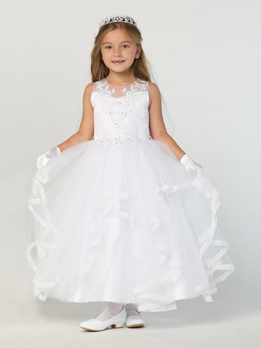 SP707 Satin w/ appliques Communion dress