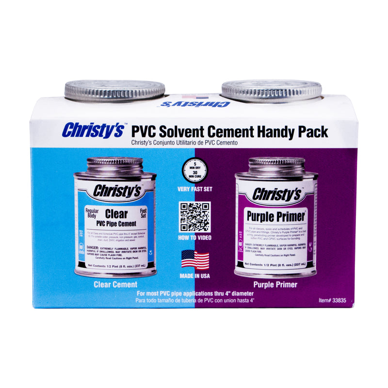 ALL IN ONE HANDY PACK - CLEAR PVC CEMENT 1/2 PINT & PURPLE PRIMER 1/2 PINT