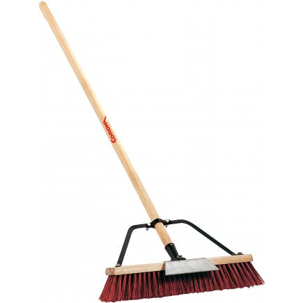 Landscape Broom - 3 Bristles - 18 Inch, 60 Inch Wood Handle, Coarse Poly Bristles, Medium Steel Bristles, Feathered Poly Bristles