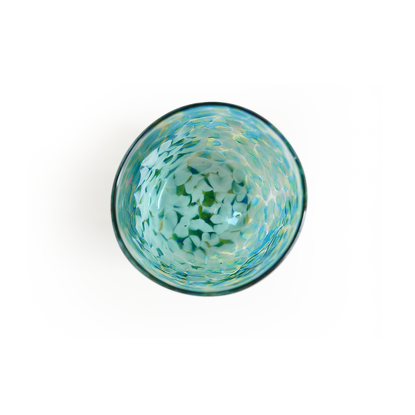CURIO Handblown Green & Aqua Glass Tumbler