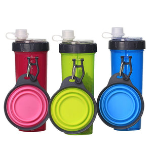 2 in 1 Portable Pet Water Food Container with Folding Silicone