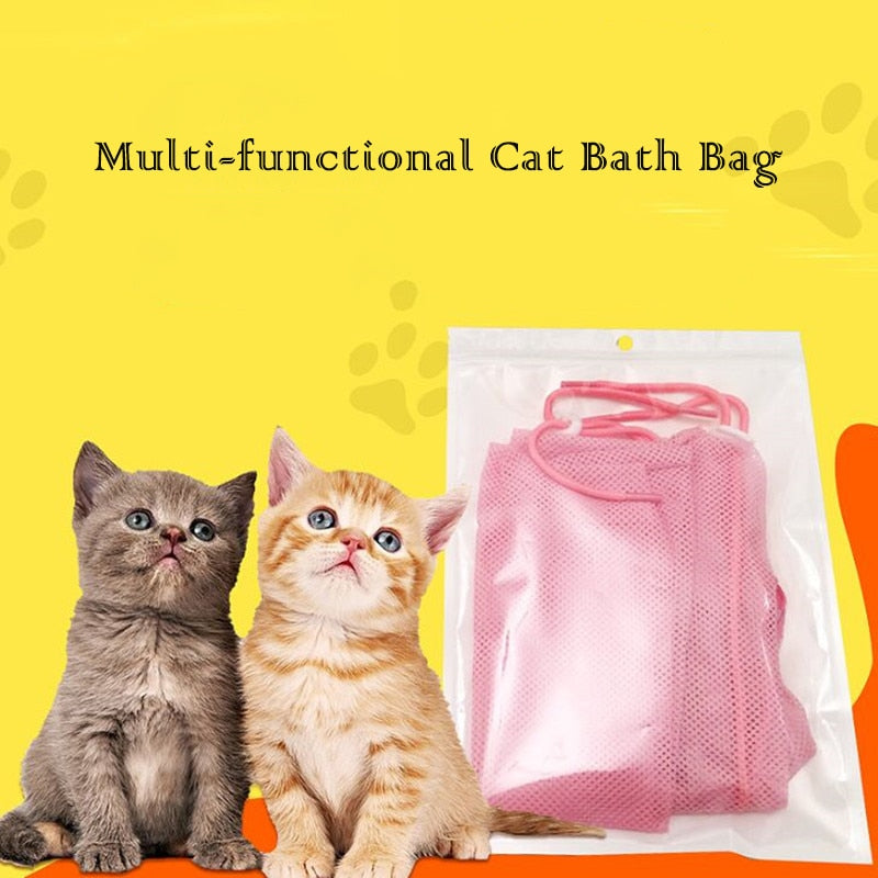 Multi-Functional Cat Stationary Bag for Bath Nail Cutting Ear Cleanning