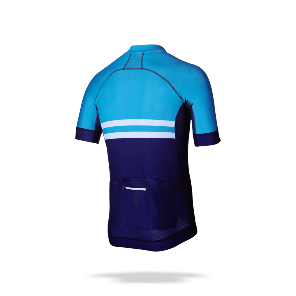 Blue, striped mens cycling jersey from BBB. BBW-401