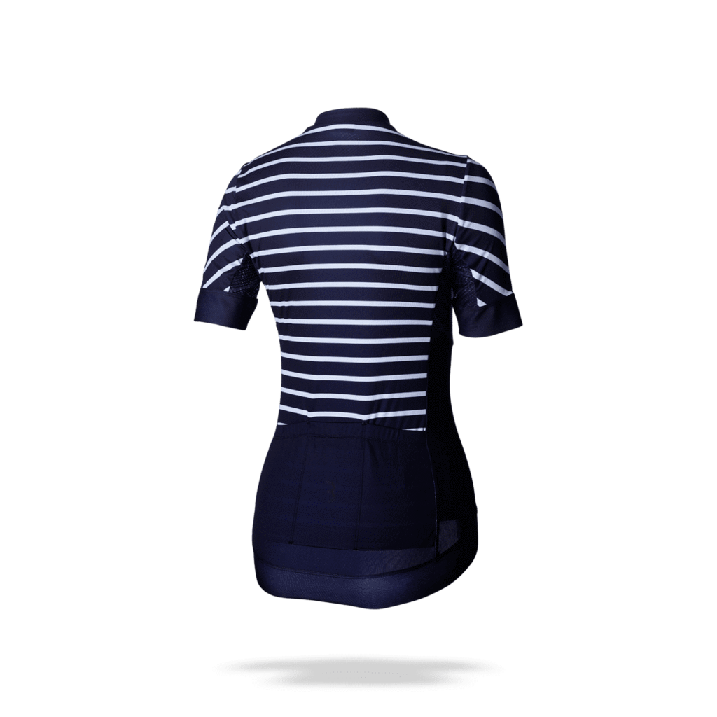 Striped, navy blue and white, womens cycling jersey. BBW-249