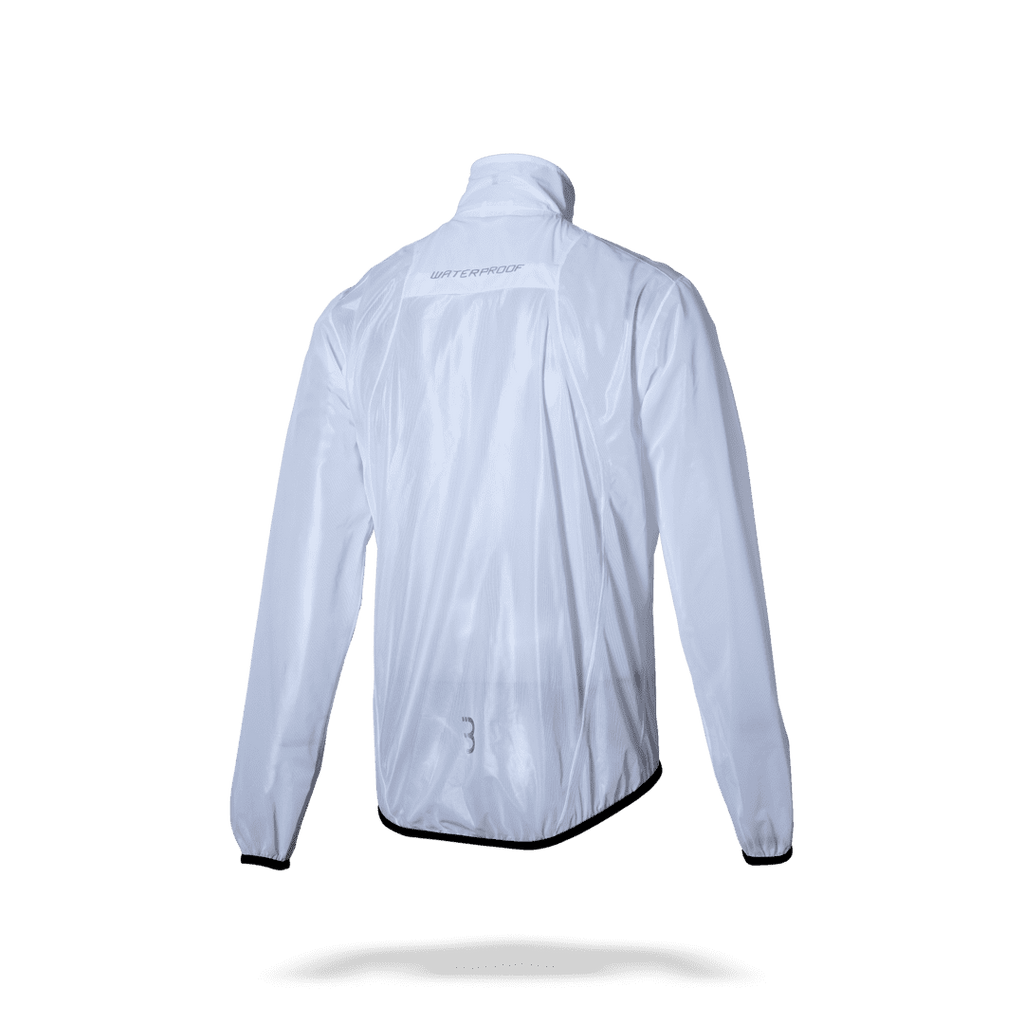 Transparent, waterproof cycling rain jacket from BBB. BBW-265