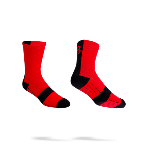 Red with black stripe cycling socks, from BBB. BSO-09