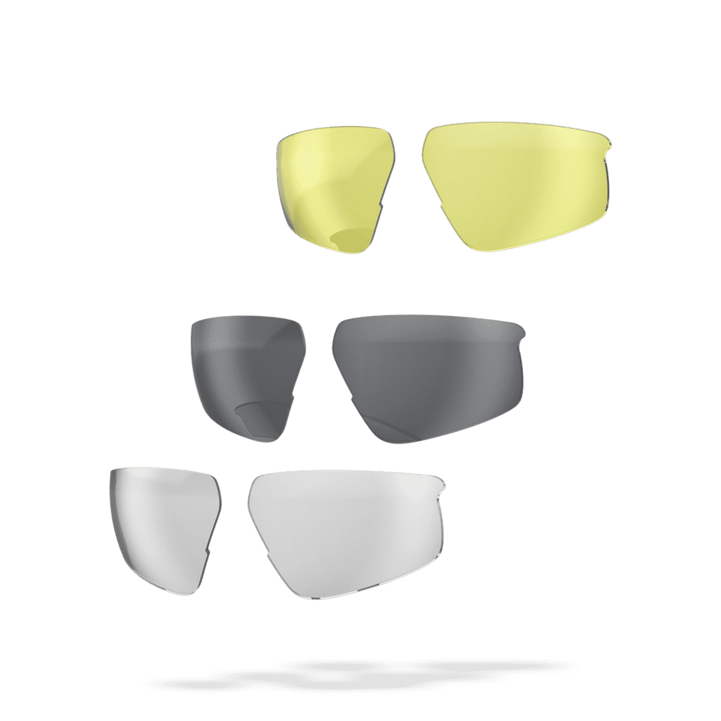 Low light, bright light, and clear lenses for BSG-62 sunglasses from BBB
