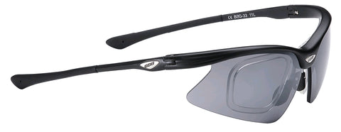 Black, cycling sunglasses with prescription lense inserts from BBB. BSG-33