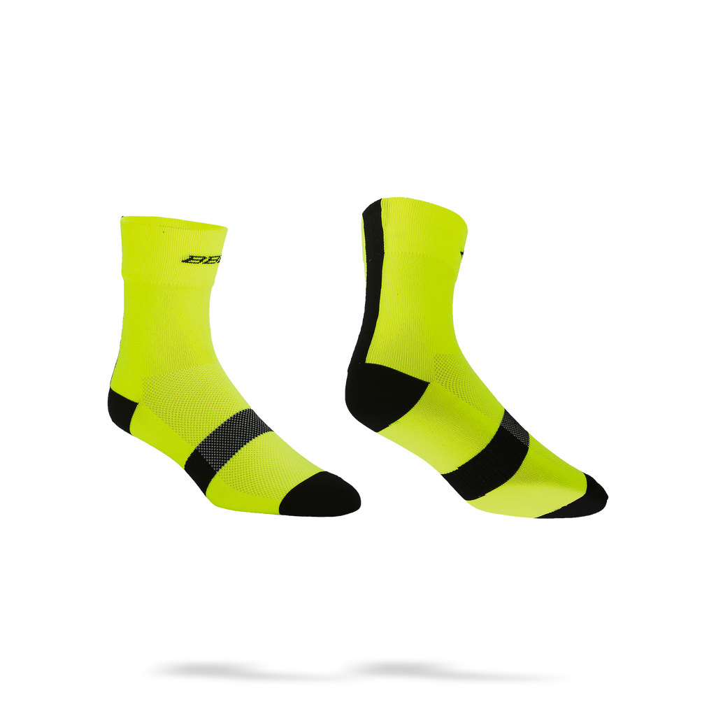 Yellow with black stripes cycling socks from BBB. BSO-07