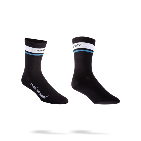 Black winter cycling socks with white and blue stripes, made of merino wool from BBB. BSO-12