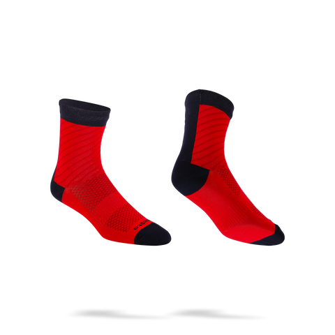 Red winter cycling socks with black stripes from BBB. BSO-17