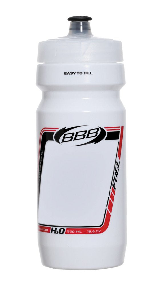 White 18oz cycling water bottle from BBB. BWB-01