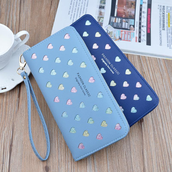 Forever Young Simple Cute Long Wallet With Zip Purse