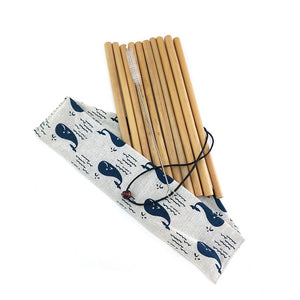 Bamboo Drinking Straws with Pouch 10 Pack