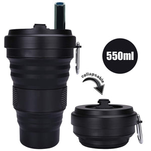 Collapsible Silicone Coffee Cup with Straw