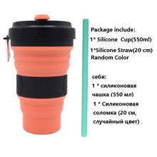 Load image into Gallery viewer, Collapsible Silicone Coffee Cup with Straw
