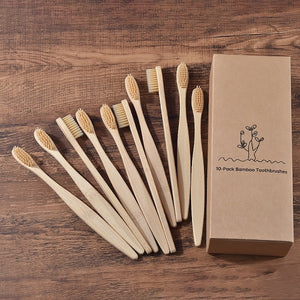 Eco Friendly Natural Bamboo Toothbrushes 10 Pack