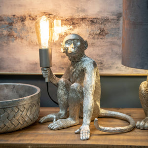 George The Monkey Silver Table Lamp