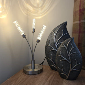 Table lamp | Satin nickel | 3 light | LED | Fern Interiors UK