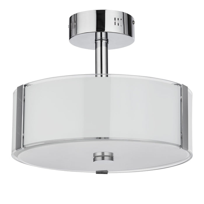 Chrome finish integrated LED semi-flush ceiling fitting with glass panels