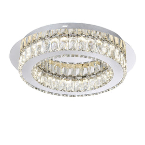Chrome finish | Glass & Crystal | LED | Flush fitting Ceiling Light | Fern Interiors UK