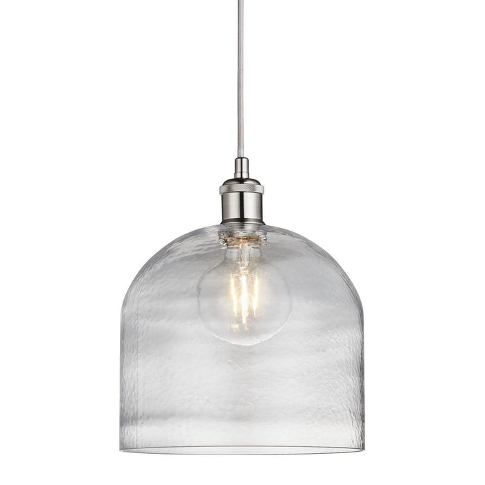 *DUE BACK IN MID NOVEMBER*  Satin silver finish industrial style single glass pendant