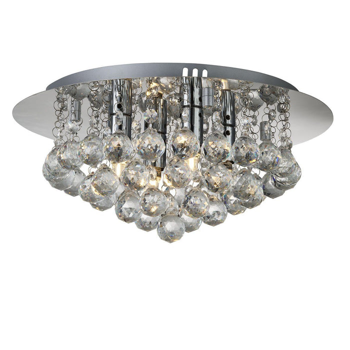 Chrome finish, 4 light, flush ceiling light with faceted glass balls.