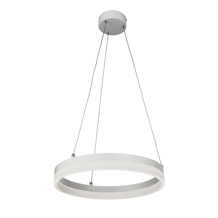Integrated LED white pendant fitting with frosted diffuser