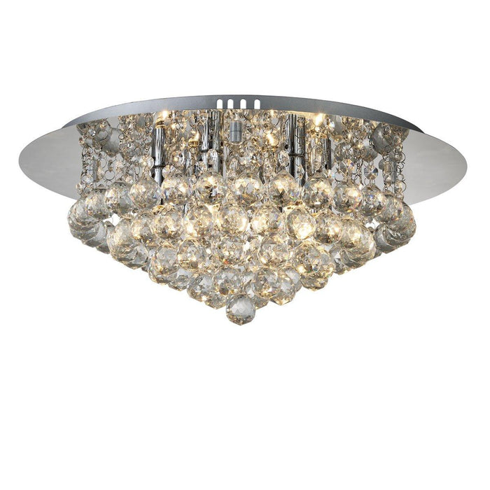 Chrome finish, 6 light, flush ceiling light with faceted glass balls.