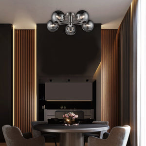 5 light semi flush fitting ceiling light with smoked mirror glass shades in a satin nickel finish