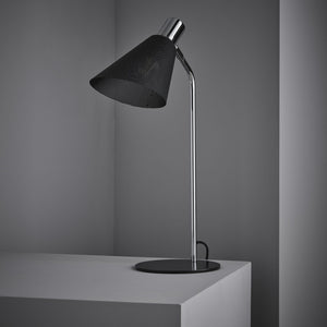 Black and chrome finish table lamp complete with black mesh shade