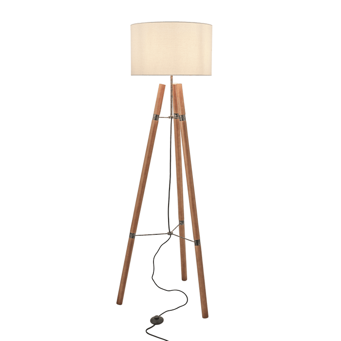 Vintage wooden tripod floor lamp with contrasting beige drum shade