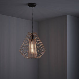 Geometric designed easy fit ceiling pendant Copper finish