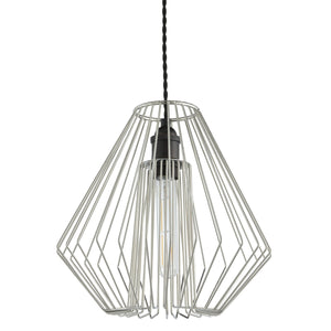 Geometric designed easy fit ceiling pendant lampshade Chrome finish