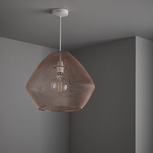 Modern, metallic mesh easy fit ceiling pendants Copper finish