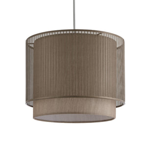 Duo layered metal and fabric, taupe easy fit pendant lampshade