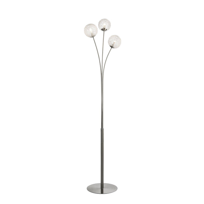 3 light satin nickel finish floor lamp with aluminium wire and glass shades