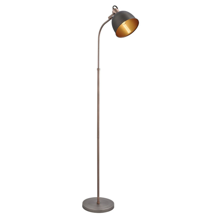 * DUE BACK IN MID NOVEMBER*  Industrial style floor lamp in matt silver and antique copper finish