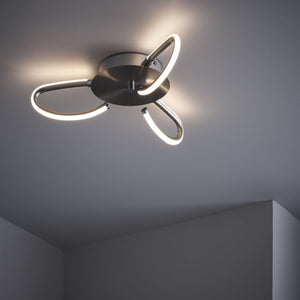 LED | Satin nickel finish | Flush fitting Ceiling Light | Fern Interiors UK
