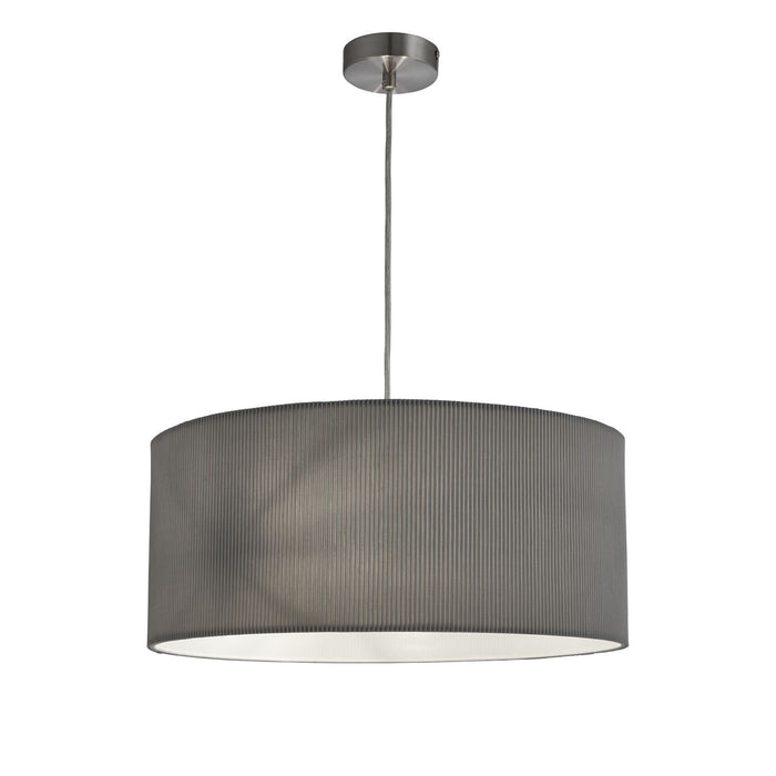 Satin silver finish 3 light ceiling pendant fitting with pleated grey drum shade
