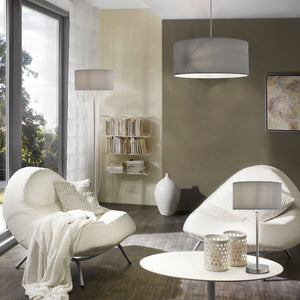 Satin silver finish floor lamp | pleated grey drum shade | Fern Interiors UK