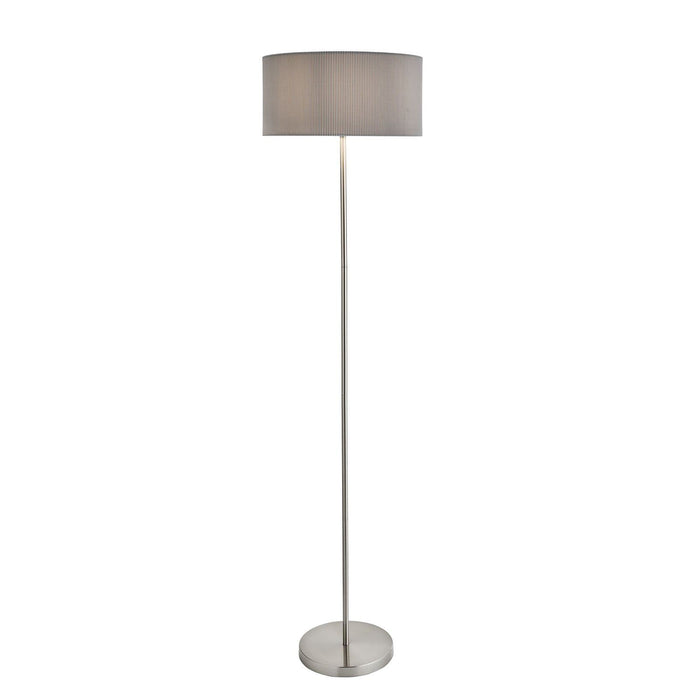 Satin silver finish floor lamp with pleated grey drum shade