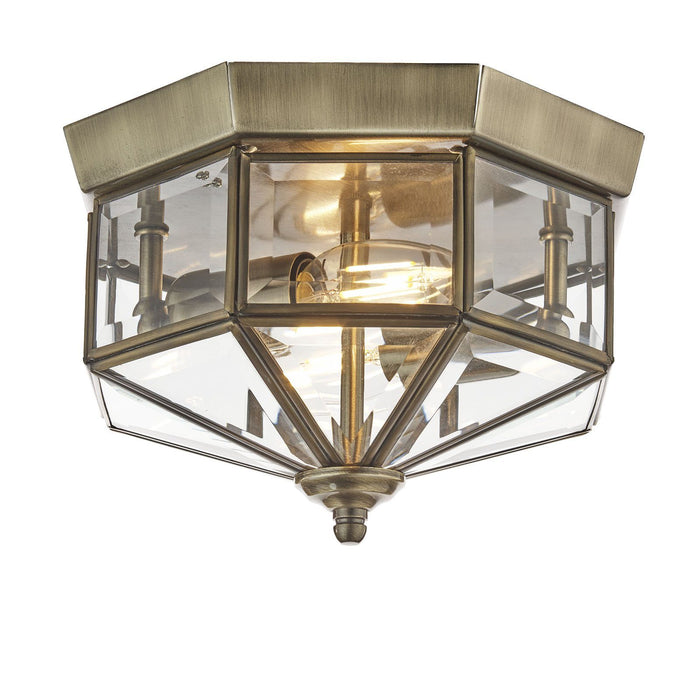 Antique brass finish, octagonal, flush ceiling fitting with clear bevelled glass